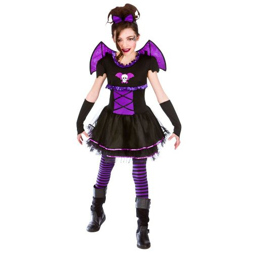 Childrens Girls Batty Ballerina Costume for Bat Vampire Fancy Dress